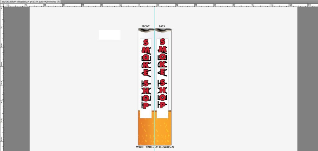 Graphics placed on a inflatable tube template