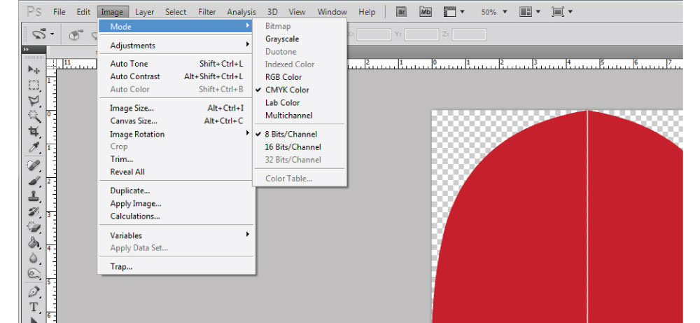 Adobe Photoshop CMYK color mode instructions