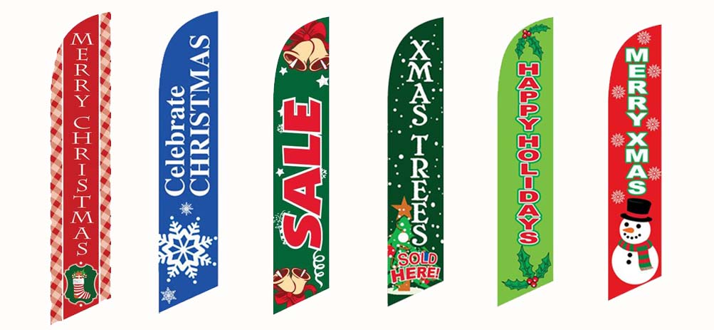 Outdoor Christmas Holiday Feather Flag Sale