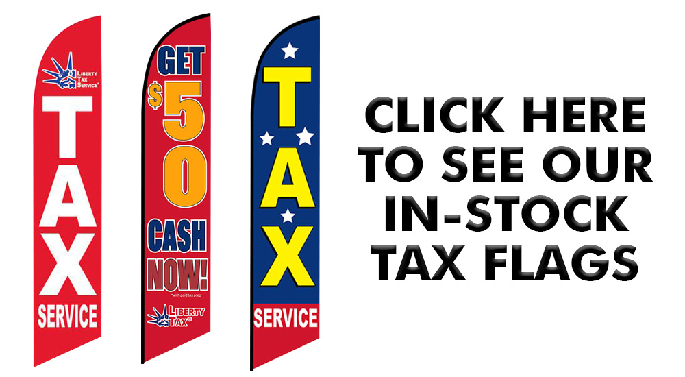 click here to shop in stock tax feather flags