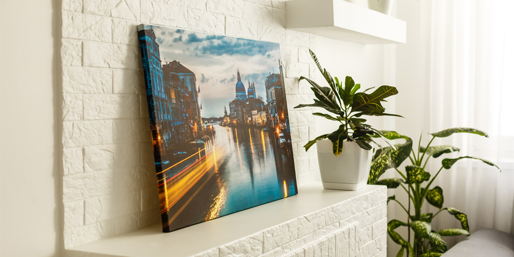 canvas print on a shelf