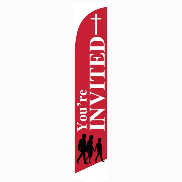 you're invited church feather banner flag