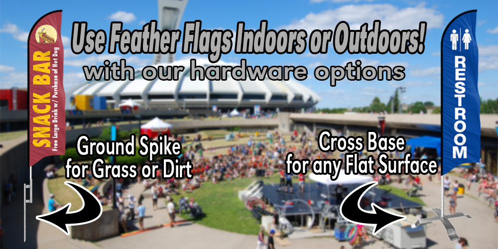 Use Feather Flags Indoors or Outdoors