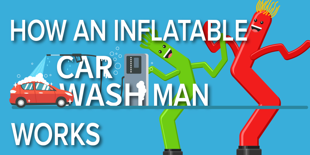 how an inflatable car wash man works