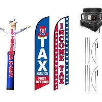 Tax Service Feather Flag & Inflatable Tube Man – Pack of 3 with Pre-Curved Poles & Ground Spike & Blower