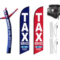 Tax Service Feather Flags & Inflatable Tube Man – Pack of 3 with Pre-Curved Poles & Ground Spike & Blower