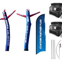 Tax Service Inflatable Tube Man & Custom Flag (Single Sided) – Pack of 3 with Pre-Curved Poles & Ground Spike & Blowers