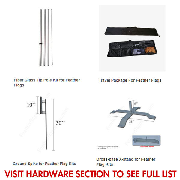 Available hardware for stock feather flags
