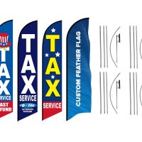 Tax Service Feather Flags & Custom Feather Flag (Single Sided) – Pack of 4 with Pre-Curved Poles & Ground Spike