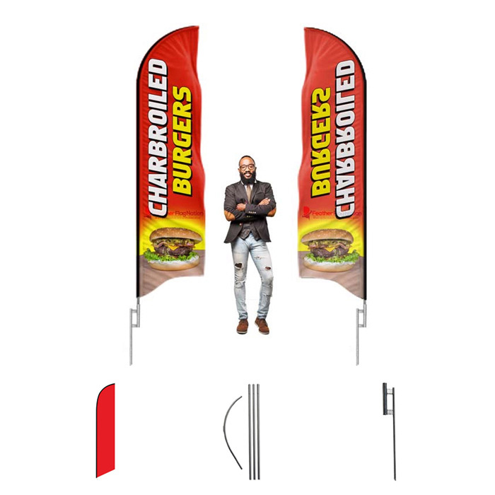 2 Swooper Flutter Feather Flags plus 2 Poles /& Ground Spikes RENT 2 OWN Red Blue White