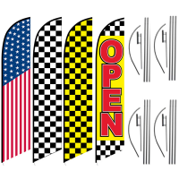 Retail Feather Flag Package – Pack of 4 with Pre-Curved Poles & Ground Spike
