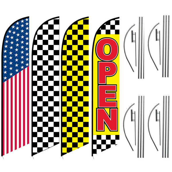 AMERICAN-FLAG-CHECKERED-FLAG-YELLOW-CHECKERED-FLAG-OPEN-GREAT-FOR-RACES-GET-READY-FOR-CHEAP-FLAGS