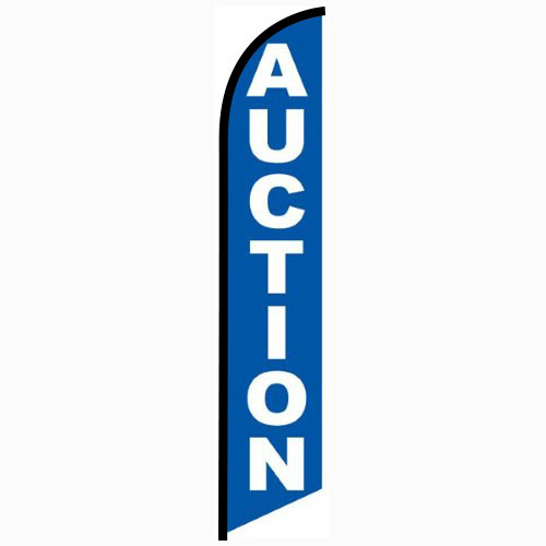 Auction blue feather flag