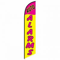 Auto Alarms Yellow and Pink Feather Flag