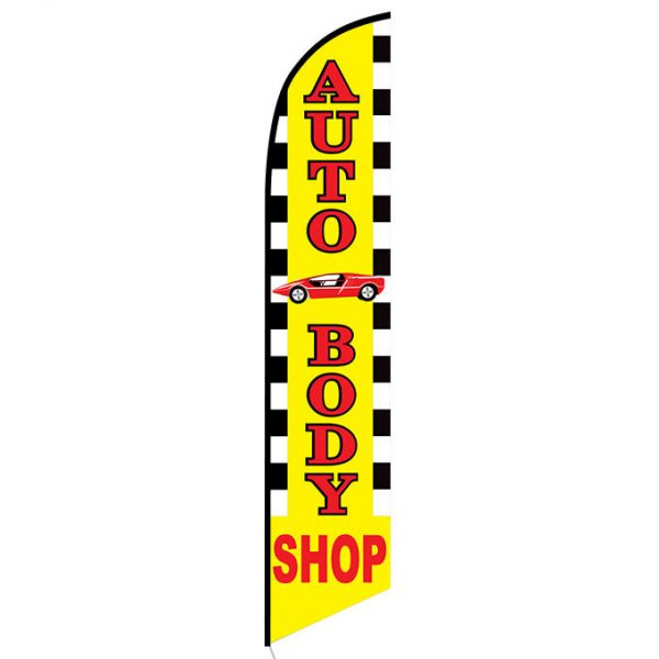 Auto Body Shop with Car Graphic Feather Flag FFN-5199 front