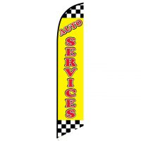 Auto Services Yellow Checkered Feather Flag FFN-5112 front
