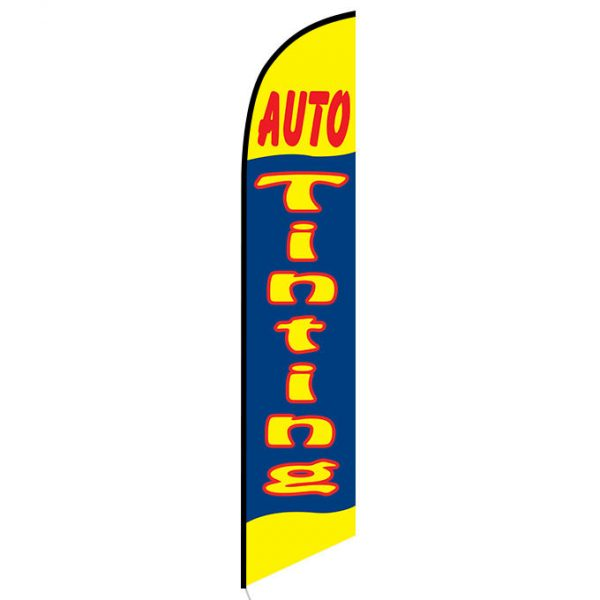 Auto Tinting yellow and blue Feather Flag FFN-5025 front