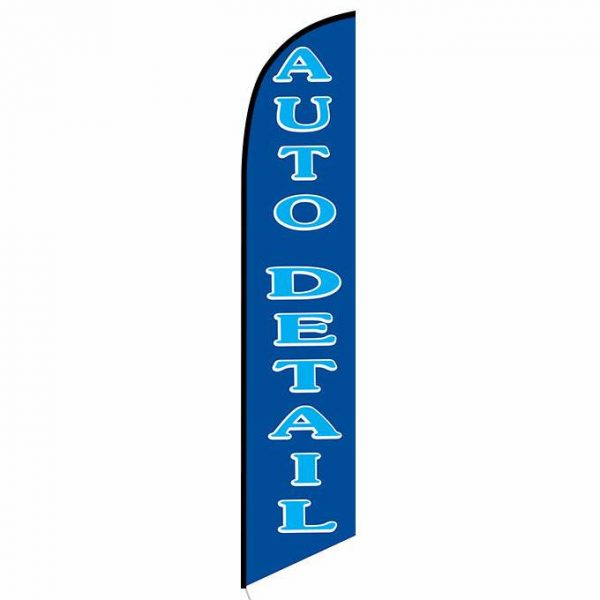 Auto detail blue banner flag