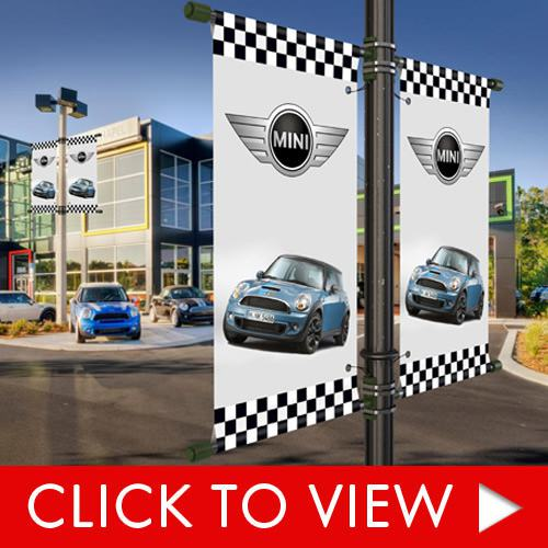 Custom avenue banners for auto dealership