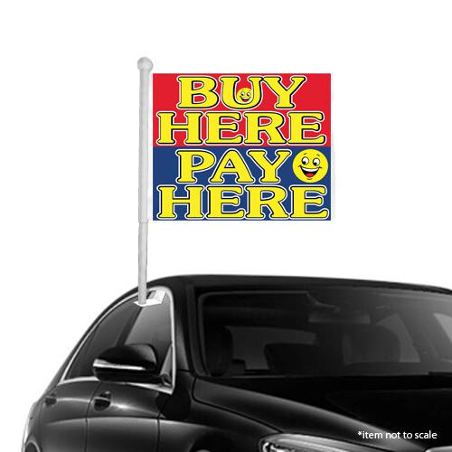 Buy Here Pay Here smiley Window Clip-on Flags