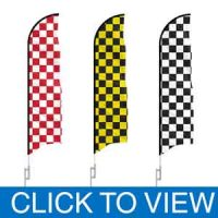 Checkered and Solid Color Feather Flags in Stock