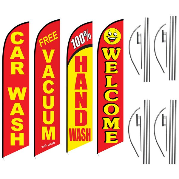 Car-Wash-Free-Vaccum-100%-Hand-Wash-Welcome-Feather-Flag-Package-for-Car-Wash