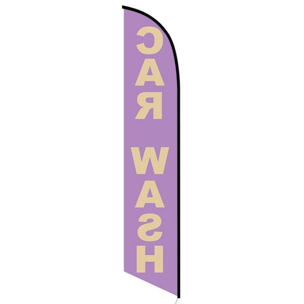 Car Wash purple gold feather flag
