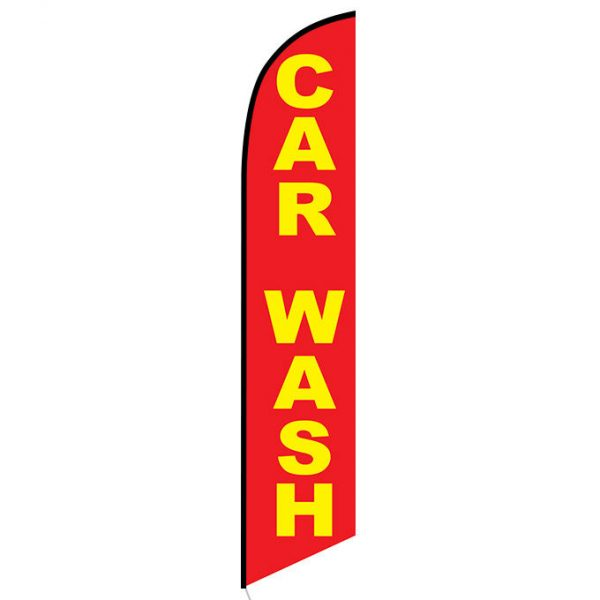 Car wash red yellow feather flag