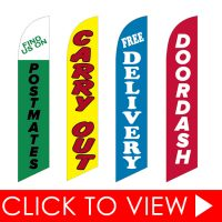 Open, Drive Thru, Take Out & Carry Out Feather Flags