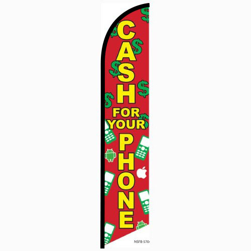 Cash for your phone Feather Flag