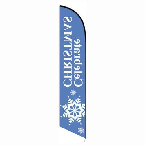 Celebrate Christmas Feather Flag
