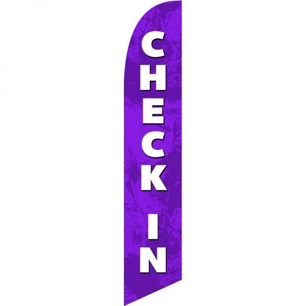 Check In Lavender Feather Flag