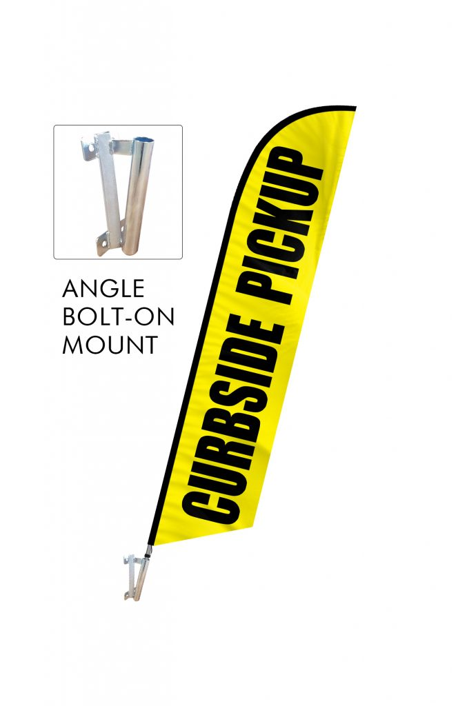 Curbside Pickup Feather Flag Single Sided_FFN-CP-02452 Angle Bolt On Mount
