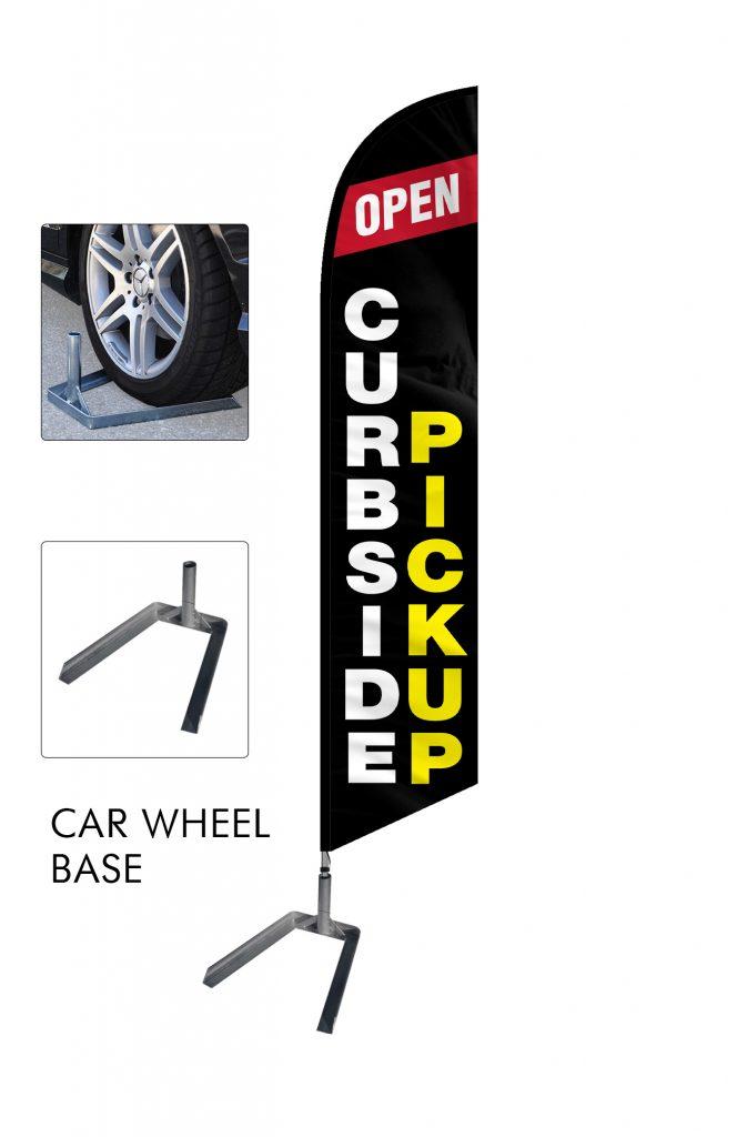 Curbside Pickup Feather Flag Single Sided_FFN-CP-02455 Car Wheel Base