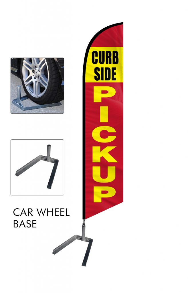 Curbside Pickup Feather Flag Single Sided_FFN-CP-02456 Car Wheel Base