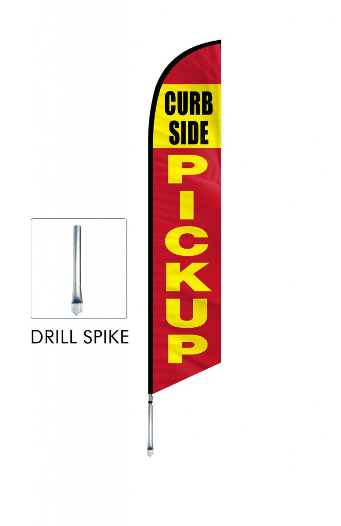 Curbside Pickup Feather Flag Single Sided_FFN-CP-02456 Drill Spake