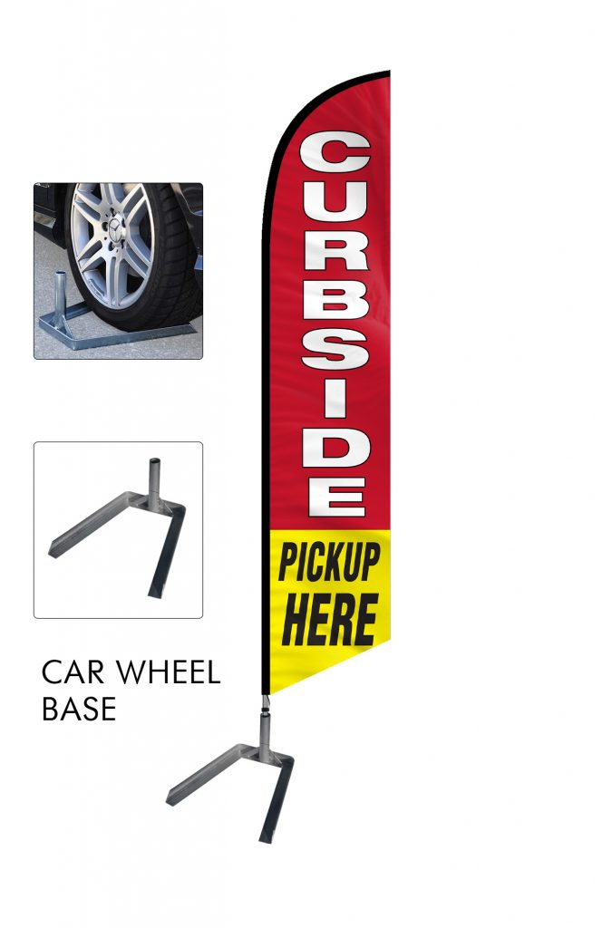 Curbside Pickup Feather Flag Single Sided_FFN-CP-02458 with Car Wheel Base