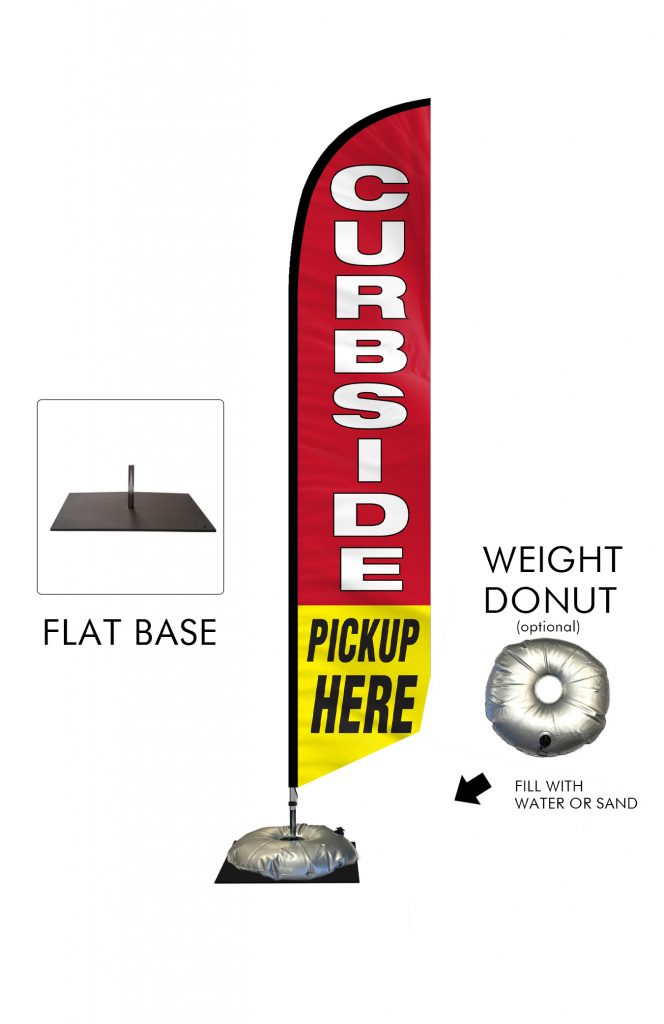 Curbside Pickup Feather Flag Single Sided_FFN-CP-02458 with Flat Base and Weight Donut