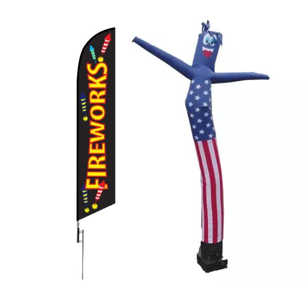 fireworks tube man and feather flag