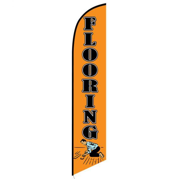 Flooring orange feather flag