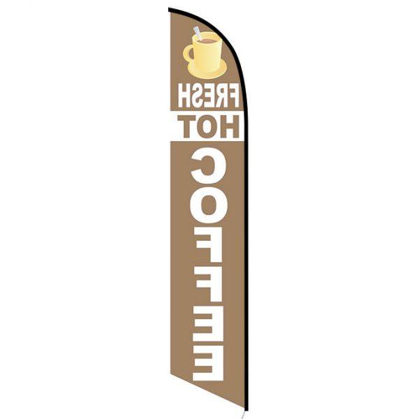 Fresh Hot Coffee Feather Flag