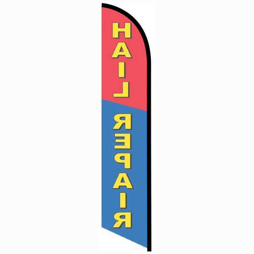 Hail Repair blue and red Feather Banner Flag FFN-5695