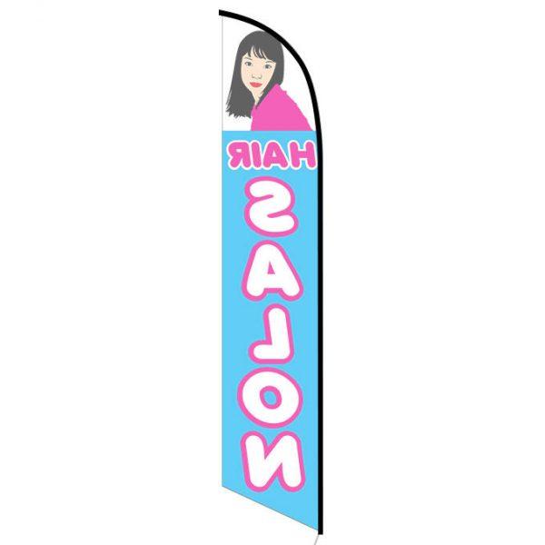 Hair Salon blue feather flag