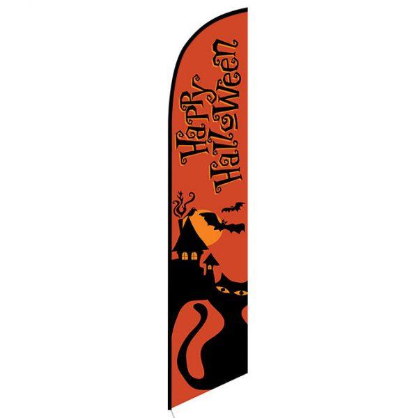 Happy Halloween orange feather flag