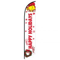 Happy Holidays (White) Feather Flag