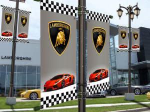 Lamborghini sample dealership pole banner