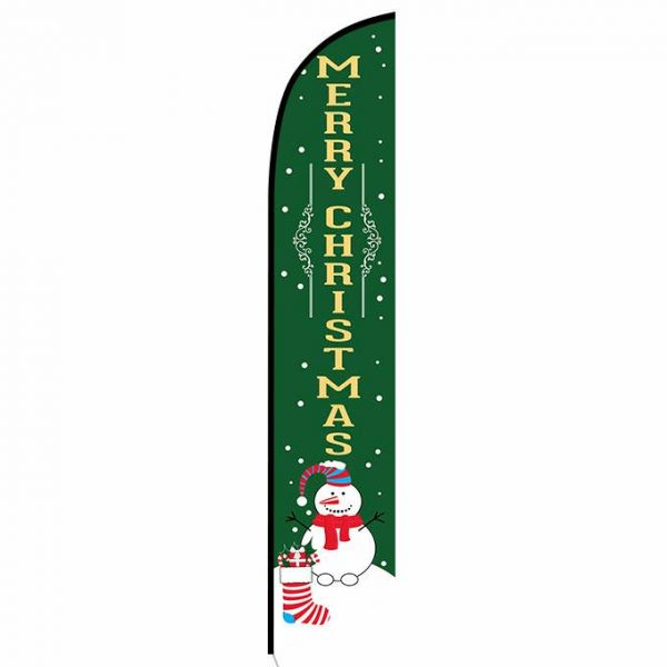 Merry Christmas green feather flag