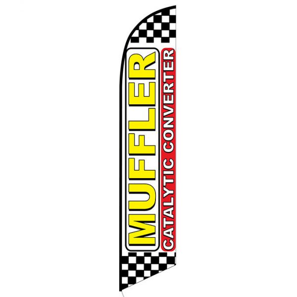 Muffler Catalytic Converter checkered Banner Flag FFN-5323 front