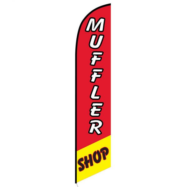 Muffler Shop Red and Yellow Feather Flag FFN-5113 front