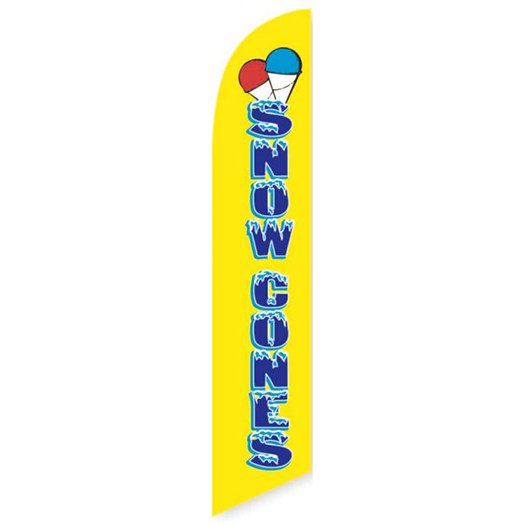 Yellow Snow Cones Feather Flag